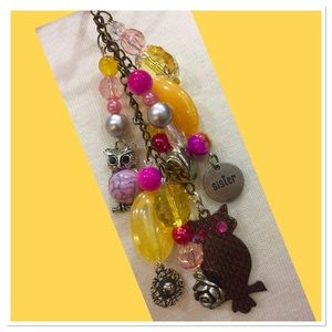 Yellow & Pink Owl OOK Handbag jewelry charm